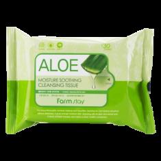 Очищающие увлажняющие салфетки с экстрактом алоэ FARMSTAY ALOE MOISTURE SOOTHING CLEANSING TISSUE 30 шт